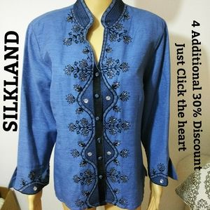 SILKLAND, Silk Embroidered beaded  blouse Sz L